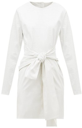 MSGM Crocodile-effect Faux-leather Dress - White