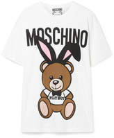 Moschino Oversized Printed Stretch-cotton Jersey T-shirt - White
