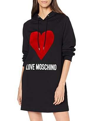 Love Moschino Women's Logo and Heart Print_Long Sleeve Hooded Dress,40 EU, UK
