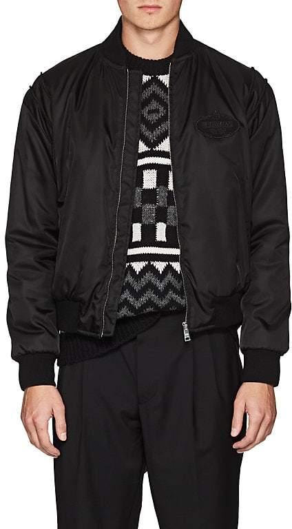 Prada Men's Logo Padded Tech-Twill Bomber Jacket