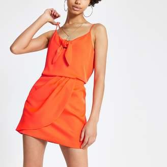 River Island Womens Orange wrap mini skirt