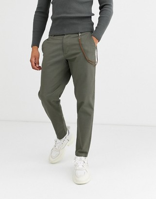 Topman tapered chinos with chain in khaki