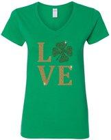 Custom Apparel R Us Love Clover Gold Glitter St Patrick's Day Womens V Neck T-Shirt