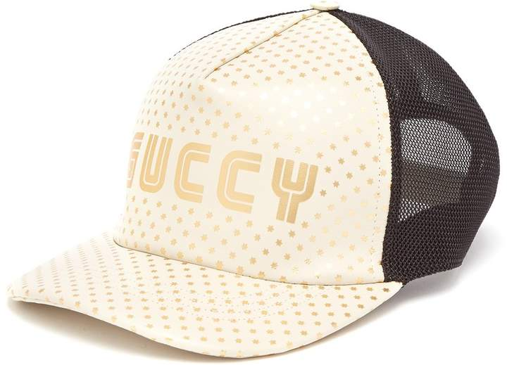 Gucci Star-print leather and mesh cap