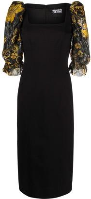 Versace Floral Print Sleeves Dress