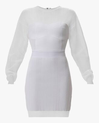 Herve Leger Sheer Ribbed Geometric Mini Dress
