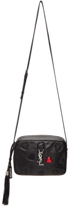 Saint Laurent Black Lou Monogramme Satchel Bag