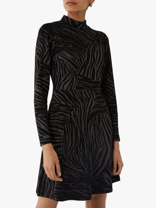 Warehouse Zebra Jacquard Mini Dress, Black