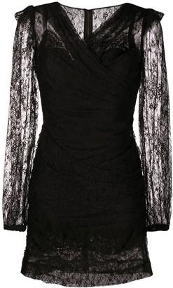 Dolce & Gabbana Ruched Lace Mini Dress