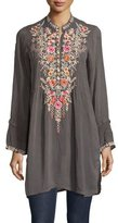 Johnny Was Arianna Long-Sleeve Embroidered Tunic, Iron, Plus Size