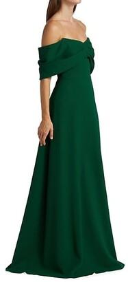 Lela Rose Off-The-Shoulder Crepe Gown