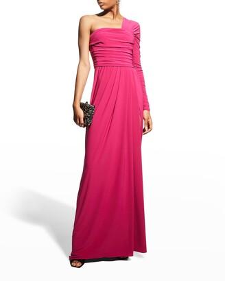 Monique Lhuillier One-Shoulder Ruched Matte Jersey Gown