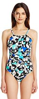 Penbrooke Women's Color Angles Mastectomy High Neck Maillot One Piece Swimsuit