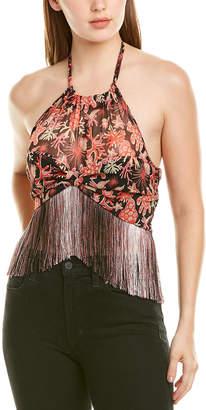 Anna Sui Coral Star Silk Crop Top