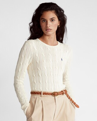 Polo Ralph Lauren Women's White Jumpers - Slim Fit Cable-Knit Sweater - Size S at The Iconic