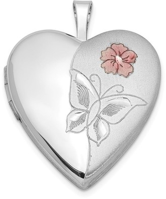 Curata 925 Sterling Silver Enameled Flower Butterfly Angel Wings Love Heart Photo Locket Pendant Necklace Jewelry Gifts for Wome