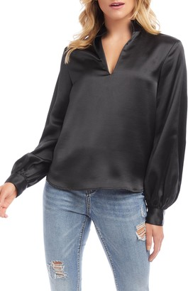 Karen Kane Satin Split Neck Blouse