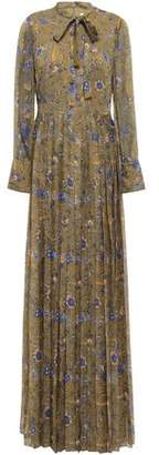 Mikael Aghal Pussy-bow Pleated Floral-print Georgette Gown