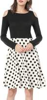 Allegra K Women's Polka Dots Color Block Cut Out Shoulder Above Knee Dress M
