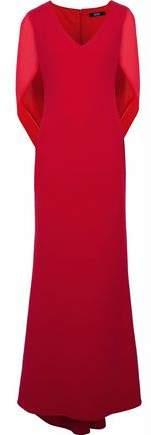 Badgley Mischka Draped Chiffon-Paneled Crepe Gown