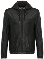 HUGO BOSS Lambskin Perforated Hooded Blouson Jacket Jainee 42R Black