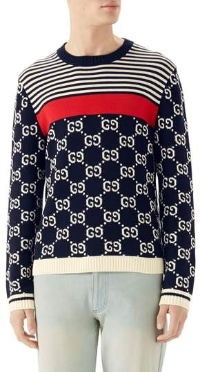 Gucci Stripe & Double-G Crewneck Sweater