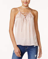American Rag Juniors' Hammered-Satin Lace-Up Camisole, Created for Macy's