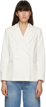 MM6 MAISON MARGIELA White Denim Double-Breasted Jacket