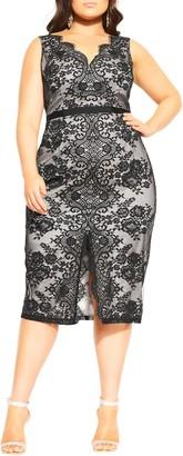 City Chic Romantic Lace Sleeveless Sheath Dress