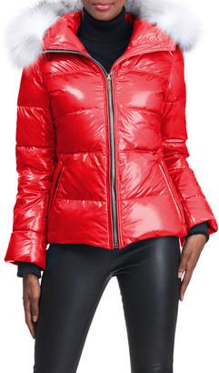 "Gorski Shiny Apres-Ski Jacket With Detachable Fox Fur Hood Trim - 24"""