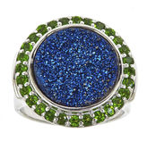 JCPenney FINE JEWELRY LIMITED QUANTITIES Genuine Blue Drusy Quartz and Green Chrome Diopside Round Ring