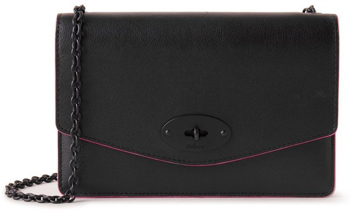 Mulberry Small Darley with Leather and Chain Strap Black Silky Calf With Neon Inking