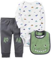 Carter's 3-Pc. Dinosaur Bib, Bodysuit & Pants Set, Baby Boys