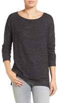 Gibson Cozy Fleece Ballet Neck High/Low Pullover