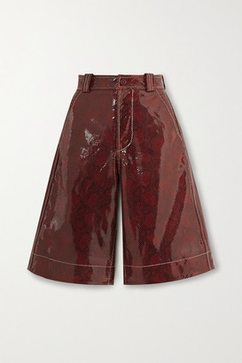 Ganni Snake-effect Coated-leather Shorts - Brown