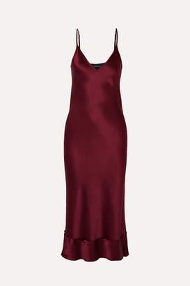 Lee Mathews - Rose Silk-satin Midi Dress - Burgundy