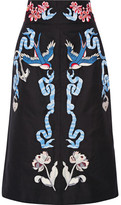Temperley London Embroidered Cotton And Silk-blend Faille Midi Skirt - Black