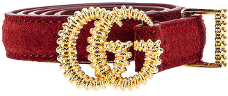 Gucci Suede Torchon Double G Buckle Belt in Cherry Red | FWRD