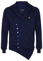 Alexander Mcqueen Blue Asymmetric Cashmere Cardigan