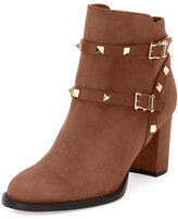 Valentino Rockstud Suede 100mm Chunky-Heel Bootie, Tobacco