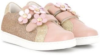 Little Marc Jacobs floral-applique touch-strap sneakers