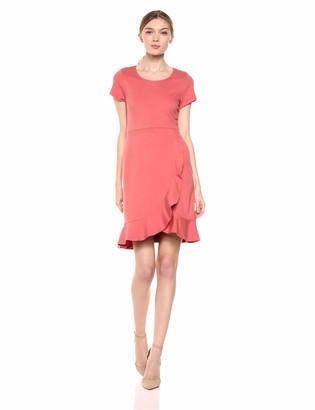 Lark & Ro Amazon Brand Women's Short Sleeve Open Crew Neck Ruffled Hem Ponte Shift Dress