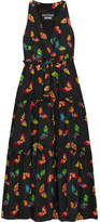 Moschino Printed Silk Crepe De Chine Maxi Dress - Black