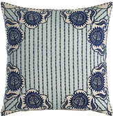 "John Robshaw Luha Pillow with Striped Center, 20""Sq."