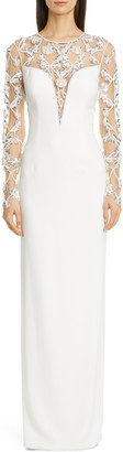 Pamella Roland Embellished Tulle Long Sleeve Crepe Column Gown