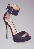 Bebe Jill Glitter Mesh Ankle Sandals