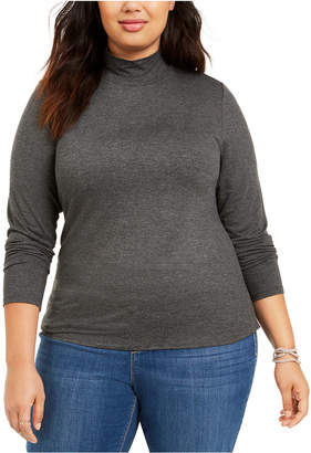Style&Co. Style & Co Plus Size Heathered Mock-Neck Top