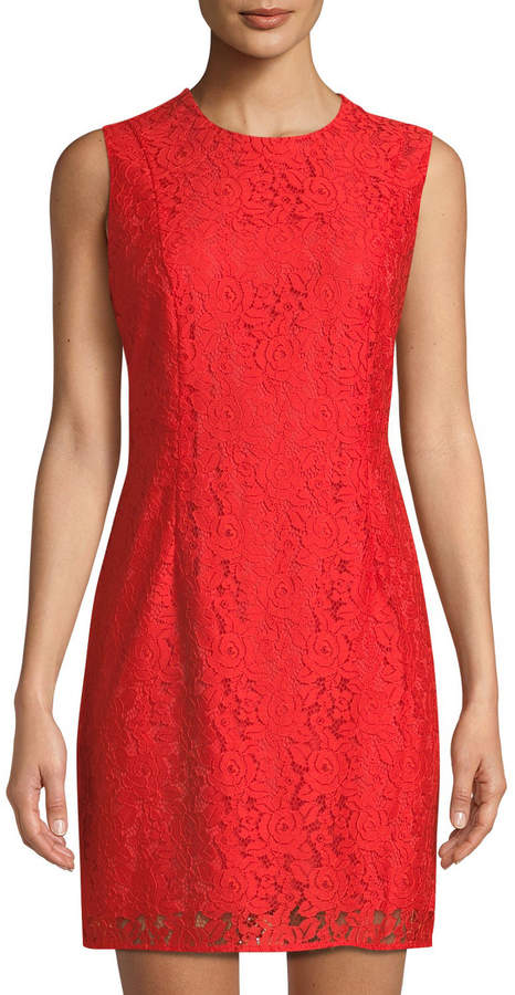 Diane von Furstenberg Sleeveless Tailored Lace Sheath Dress