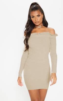 PrettyLittleThing Oatmeal Frill Edge Knitted Mini Dress