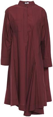 Brunello Cucinelli Belted Pleated Crinkled Cotton-blend Poplin Shirt Dress